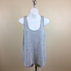 Gray sequins sleeveless sweater tank top, XL